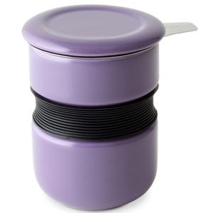 Curve Asian Style Tea Cup with Infuser - Purple
